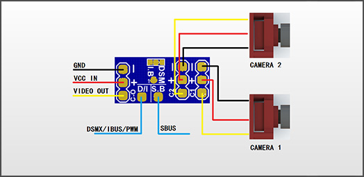 wiring diagram  simply connects the vifly cam switcher to the pwm receiver  (airplane) or sbus/ibus/dsmx receiver (racing drone), and it's ready to  switch